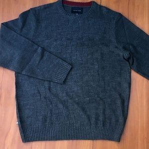 Geoffrey Beene Gray Textured Plaid Sweater - L